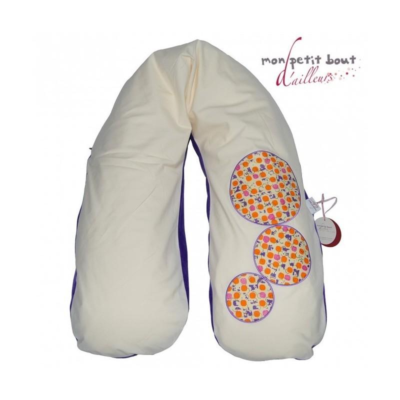 Coussin d'allaitement et de maternité CORPOMED + Housse Aboisso Bulles Violet/Orange