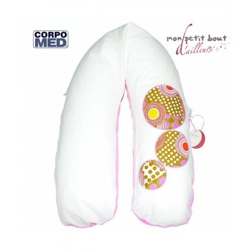 Coussin d'allaitement et de maternité CORPOMED + Housse Azuretti Bulles Rose Blanc