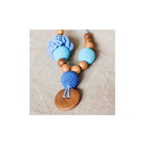 Collier d'allaitement et de portage Flower tuquoise/bleu Kangaroocare