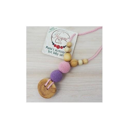 Collier de portage et d'allaitement rose et lilas Kangaroocare