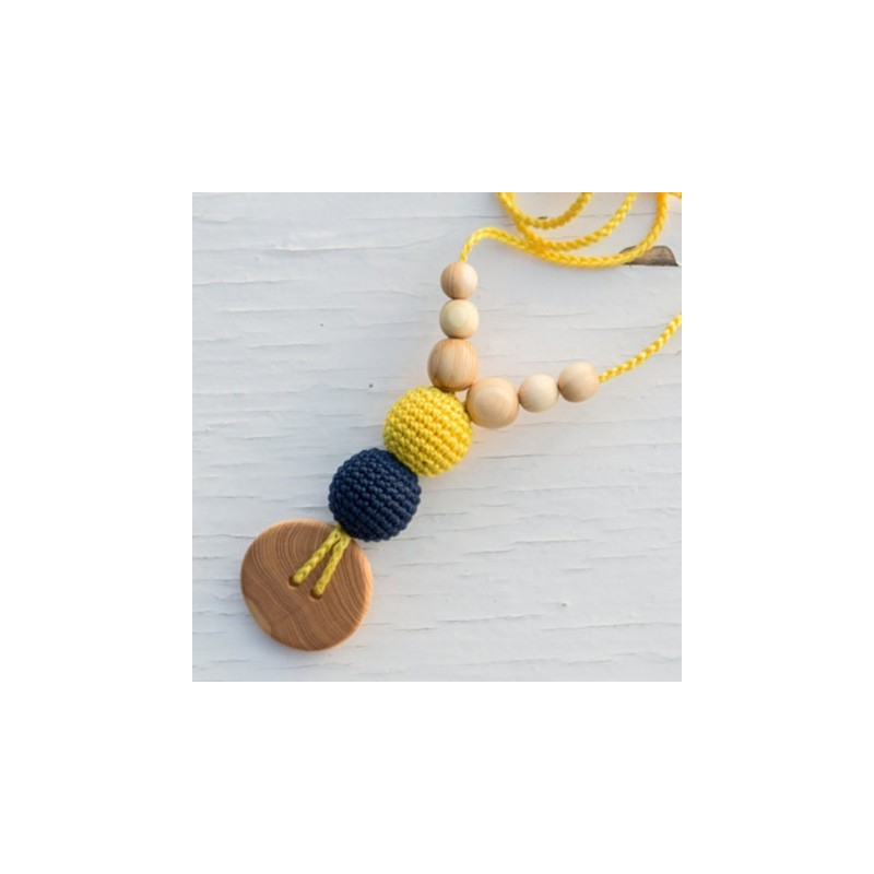 Collier de portage et d'allaitement jaune/bleu marine