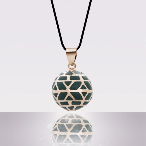 Bola EVA Email vert, doré à l'or fin rose avec cordon noir