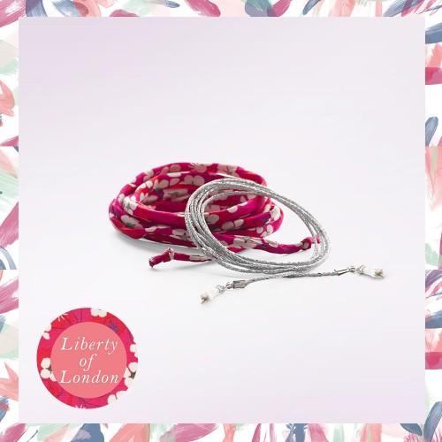 2 cordons fantaisie: fleurs rouge et lurex argent