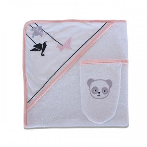 Cape de bain et son gant assorti Panda Rose