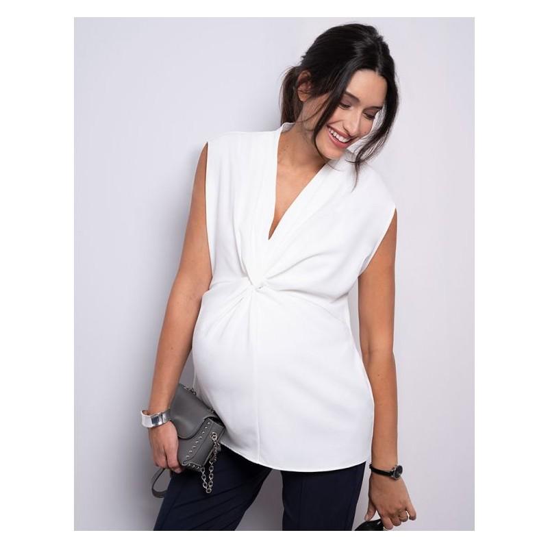 Blouse de grossesse nouée sans manches banc